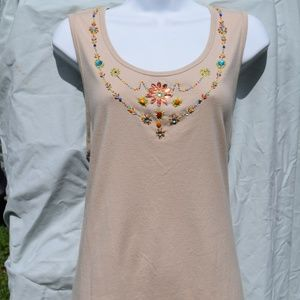WHITE STAG Women Tank Top Bedazzled Embezelled Top